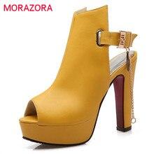 Morazora 2020 Musim Panas Sandal Sepatu Sepatu Hak Tinggi Besar Ukuran 34-43 Sepatu Pumps Peep Toe Gesper Sepatu Pesta elegan Fashion