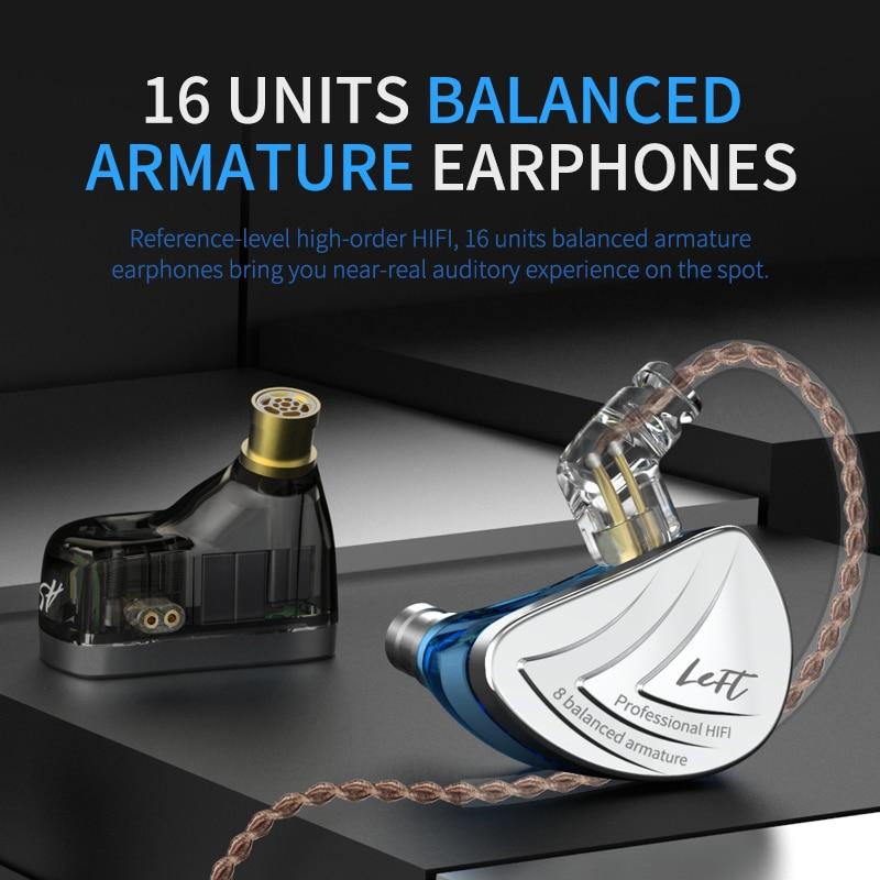 Image 4 - AK KZ AS16 8BA Driver Units in Ear Earphone Balanced Armature Around Ear Earphone Headset Earbud Headphone KZ ZS10 TRN  C16 C12-in Phone Earphones & Headphones from Consumer Electronics