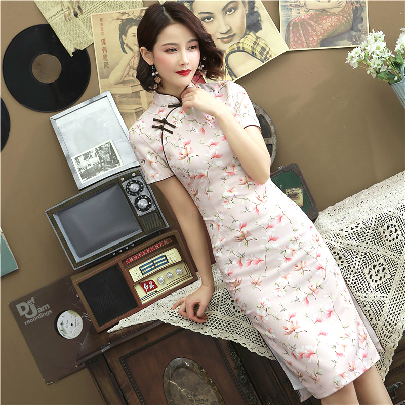 Sheng Coco New Silk Cheongsam Dresses Pink Double Chinese Qipao Printed Medium Long Ancient Silk  Improve Clothing Pink Flowers