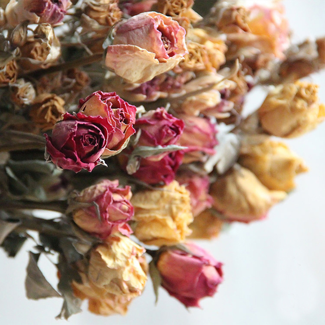 Natural Retro roses dried flowers bouquet home hotel decor floral ...