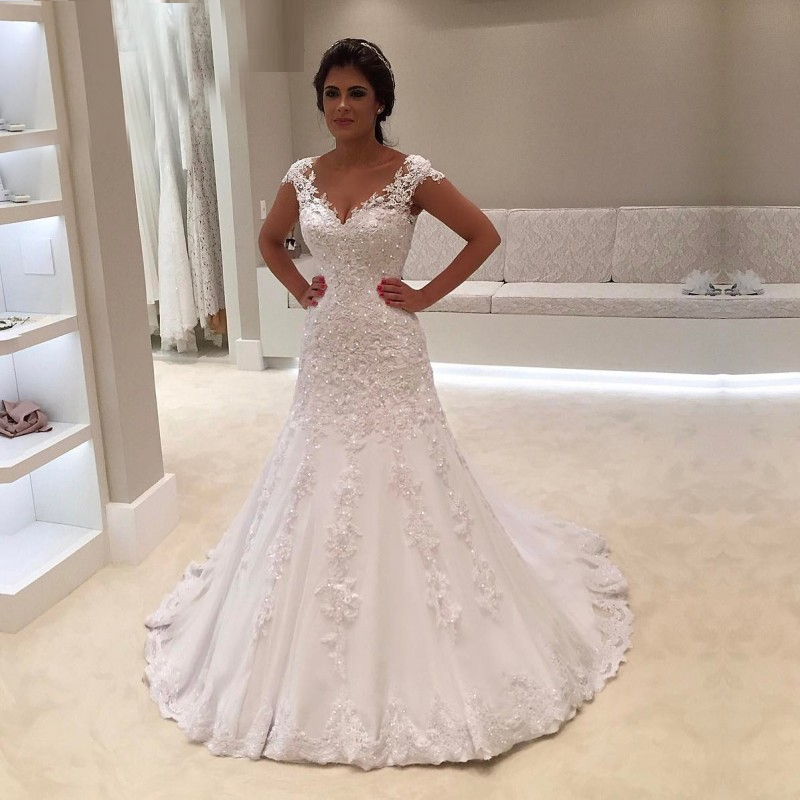 Trumpet Wedding Gowns With Sleeves: White Trumpet Wedding Dress Lace Applique With Beading