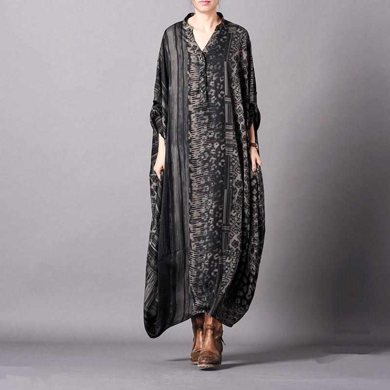 Women Spring Summer Plus Size Silk Irregular Dress Ladies loose Retro Patchwork Dress Female Elegant Soft