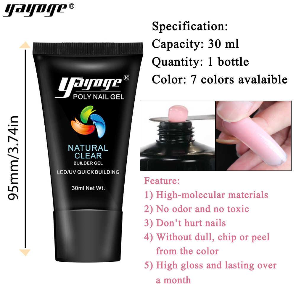 Yayoge Poly Gel vernis à ongles art 30ml UV Led Gel pour Extensions d'ongles construction rapide bricolage manucure polygel gelée dure