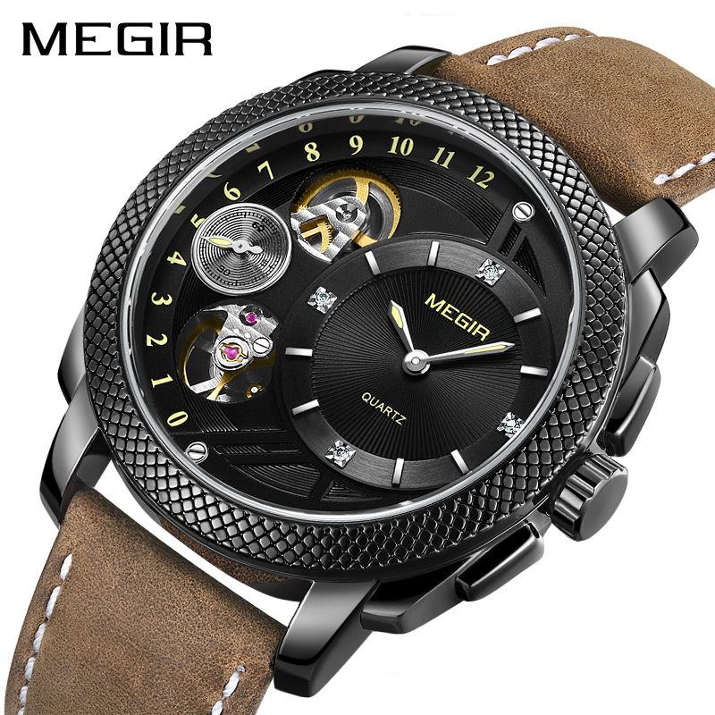MEGIR Fashion Men Watch Top Brand Luxury Sport Quartz Wristwatches B Leather Strap Army Military Watches ML2091 tanqu trim pu faux leahter decoration for obag handbag classic mini wood grain pattern trim for o bag body for summer autumn