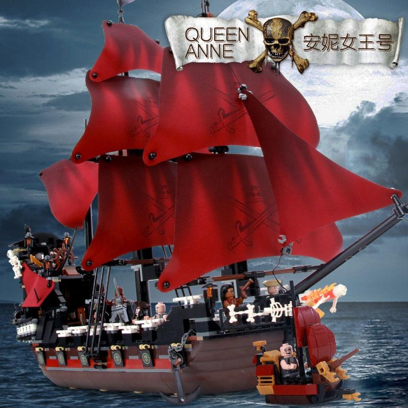 1097Pcs Caribbean Queen Anne s Reveage Model Pirates Building Blocks Bricks Children Toys Compatible With Famous
