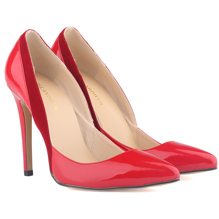ФОТО Fashion Sexy Pointed Toe Thin High Heels 11Cm Patent Leather w/ Flock Women Shallow Wedding Shoes Pumps