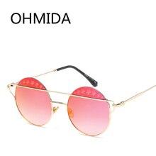Marcas OHMIDA Nueva Flor de La Manera gafas de Sol de Las Mujeres 2017 de La Vendimia Espejo de Aleación de gafas de Sol de Los Hombres Ronda Retro Negro Gafas De sol Gafas