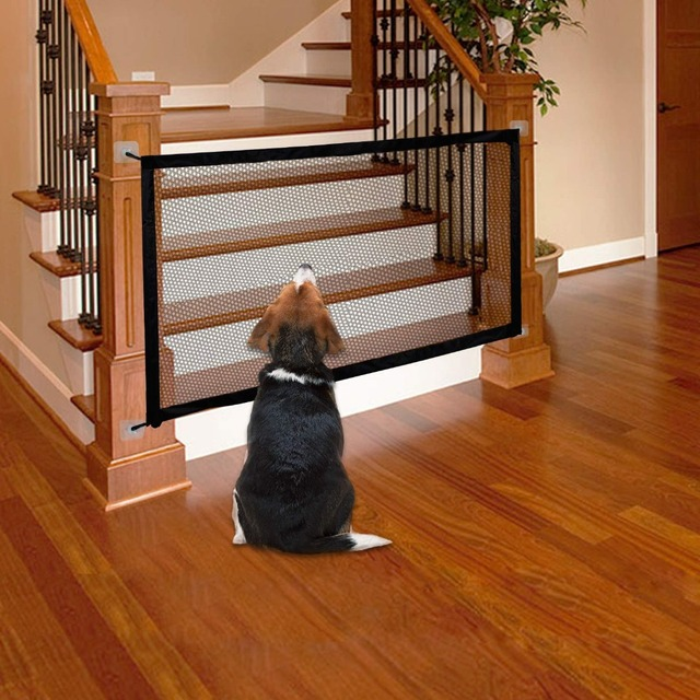 Puerta mágica suave para perros, vallas para mascotas, protección segura plegable portátil para interiores y exteriores, puerta plegable de malla para mascotas gato para gato