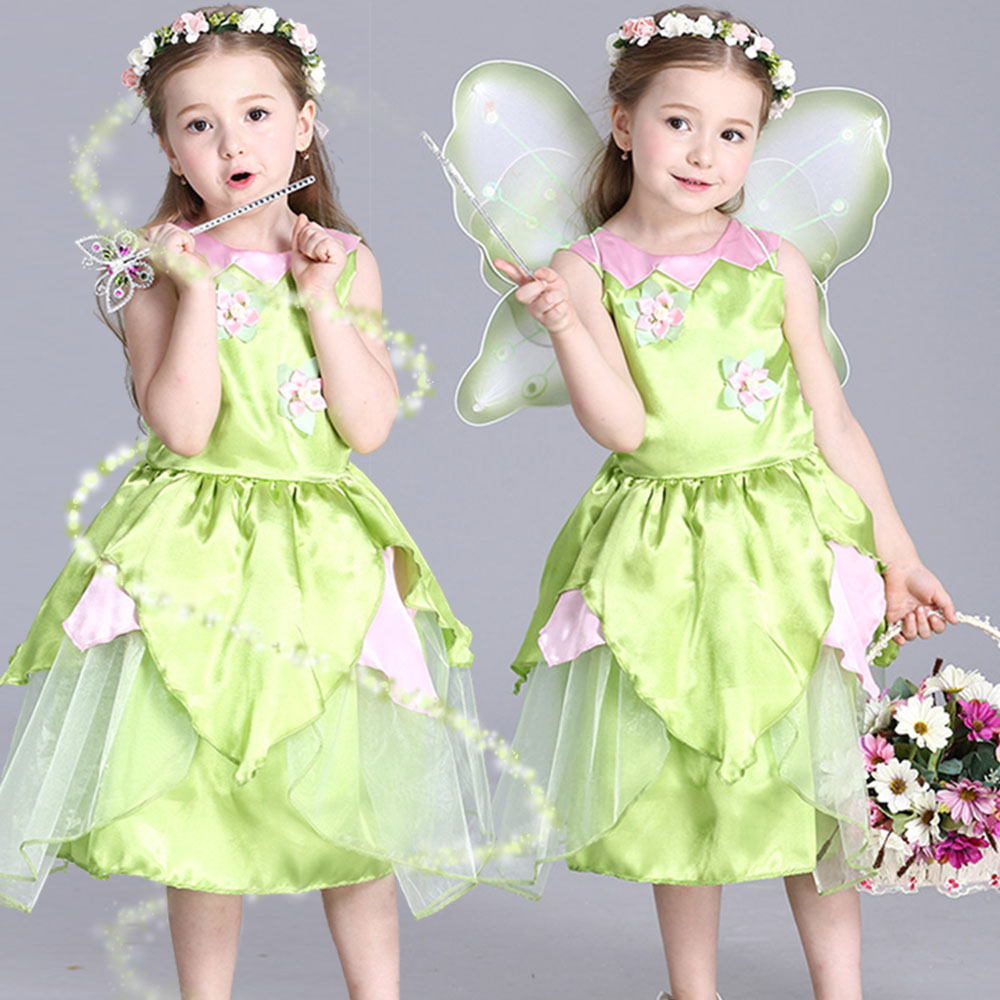 2018 Ny Tinkerbell prinsessa Woodland Fairy Dress Cosplay Kostym Girls Green Fairy Dress för 3-10Y barn (utan vinge)