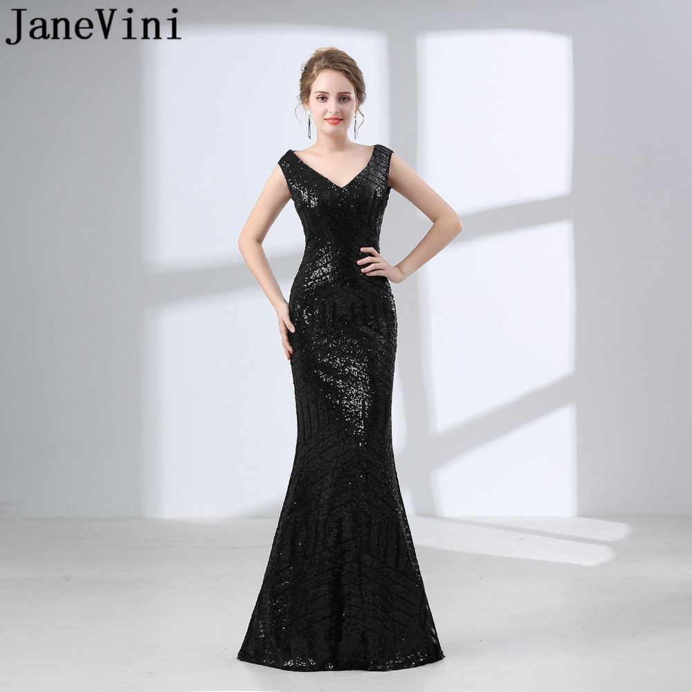 JaneVini Luxury Black Sequin   Evening     Dress   Ladies Woman Long   Dress   Elegant   Evening   Gown Mermaid Prom   Dress   Abito Cerimonia Donna