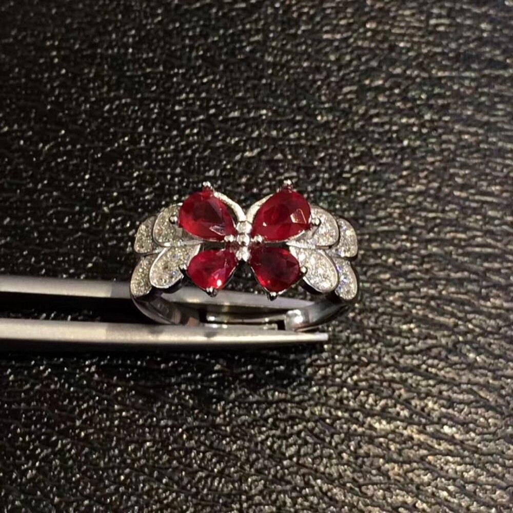 Qi Xuan Fashion Jewelry Red Pietra Semplice Ed Elegante Donna Rings S925 Solido Del Nastro di Modo di Rings Manufacturer Direttamente Le Vendite - 3