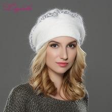 LILIYABAIHE نمط جديد المرأة الشتاء قبعة البيريه محبوك الصوف الأنجورا قبعة مطرزة جميل الديكور قبعة مزدوجة قبعة تدفئة