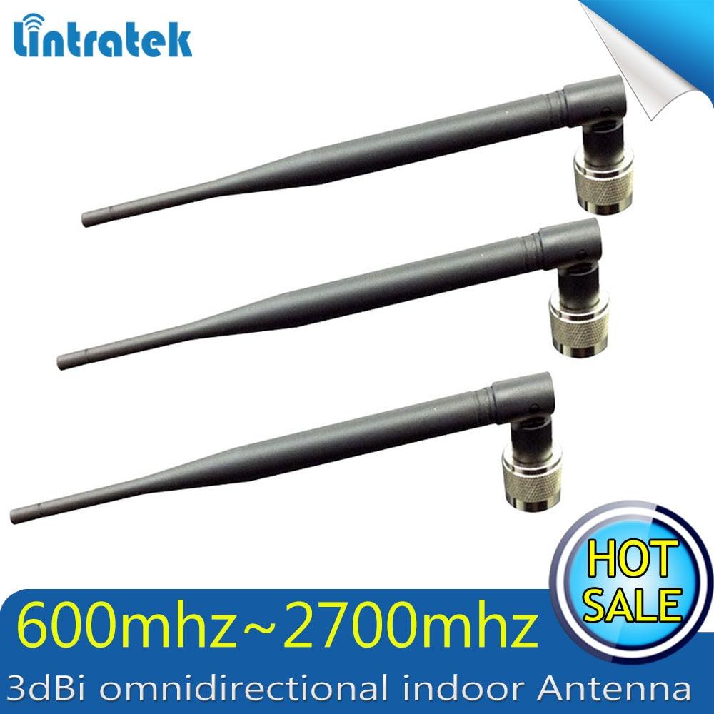 3 unids/lote 3dBi interior omnidireccional Whip 600 MHz ~ 2700Hz GSM 3G WCDMA 2600 MHz LTE repetidor 2G 3G 4G LTE antena