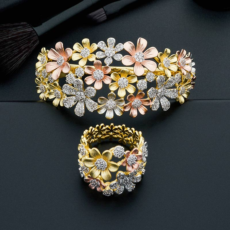 ModemAngel Luxury Flowers Leaf Three Tone Copper Engagement Party Gift Bracelets Bangle And Ring Set For