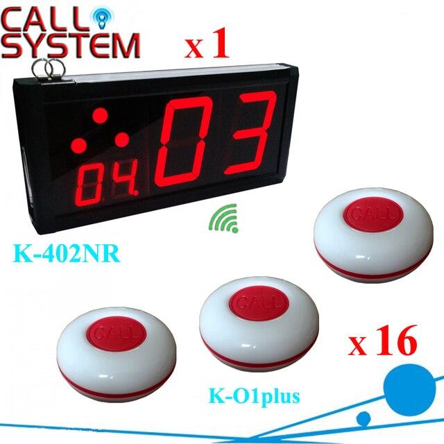 1 стены дисплей приемника с 16 кольцо колокол Официант Зуммер Вызова Пейджера Нажмите Кнопку Беспроводная Система Вызова