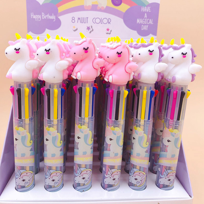 8 Colors Cute Pink Unicorn Ballpoint Pen Kawaii Multicolor Ball Pen For Kids Girls Gifts School Office Supplies Stationery