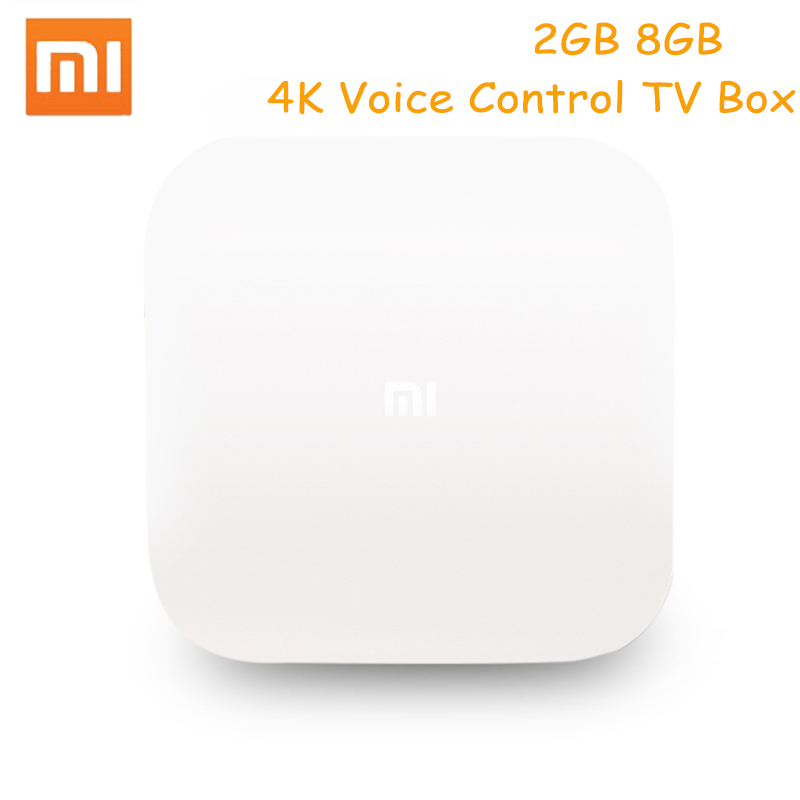 Xiaomi Mi4 Android TV Box Voice Remote Control Bluetooth TV Box Amlogic S905L 2GB 8GB 2.4G Wi-Fi Supports 4K HDR Set-Top For TV original xiaomi mi4c patchwall tv box 1gb 8gb amlogic s905l 2 4g wi fi bluetooth set top box supports 4k hd smart media player