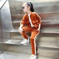 סתיו חליפת ילדה שמש בר אנכי התנגשות אופנה אישיות דפוס החדש בגדים למטה עיבוי ילדים קובע שתי חתיכות