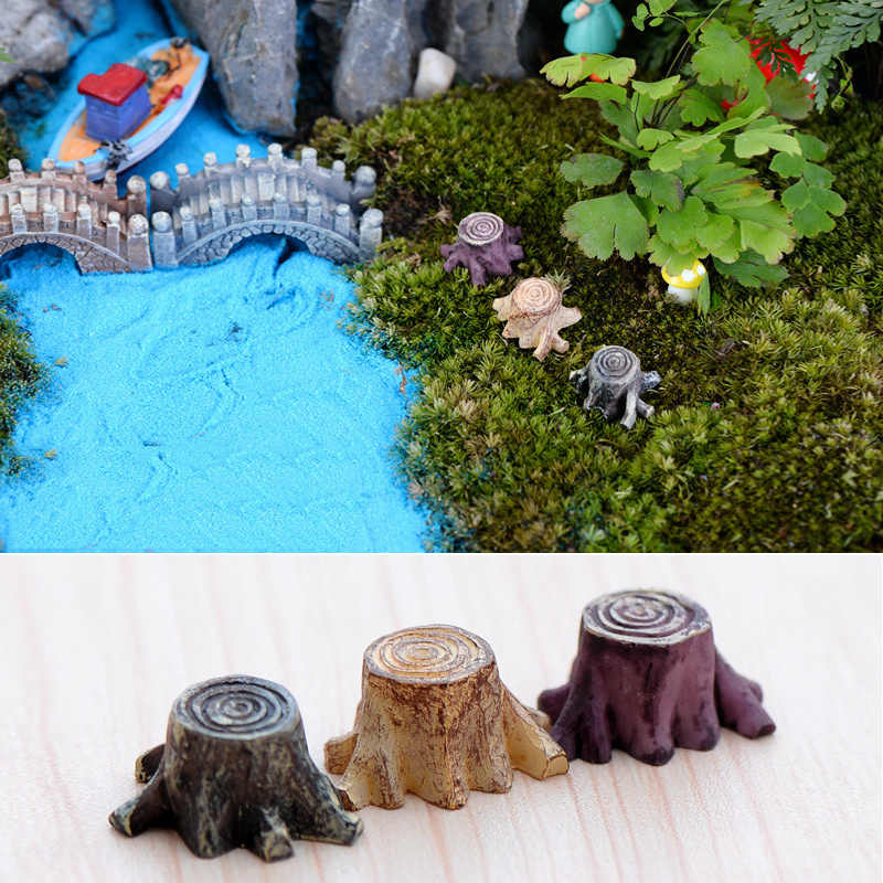 New Crafts Decorations Miniature Multicolour Tree Stump Fairy Terrarium Christmas Xmas Party Garden