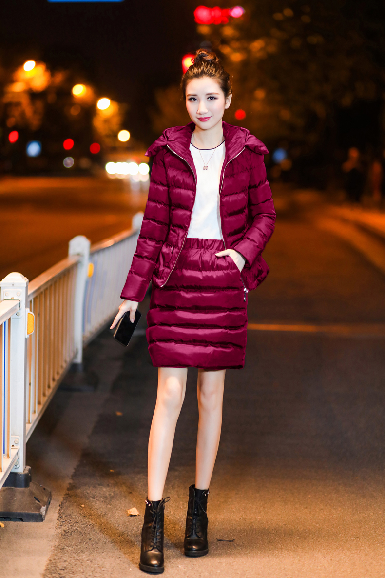 SexeMara Real Shot 2018 Winter New Down Cotton Suit Fashion Suit Female Small Fresh Warm Hooded Two-Piece Elegant Dress (17)
