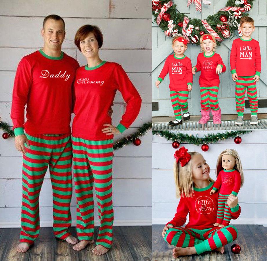 2017 Brand New Family Match Christmas Adult Women Kids Sleepwear Nightwear Santa Pajamas Set