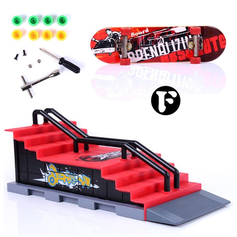 Mini Toy Skate Park Track Table Game Finger Skating Board with Ramp Parts Track for Deck Fingerboard Finger Skate Training Board