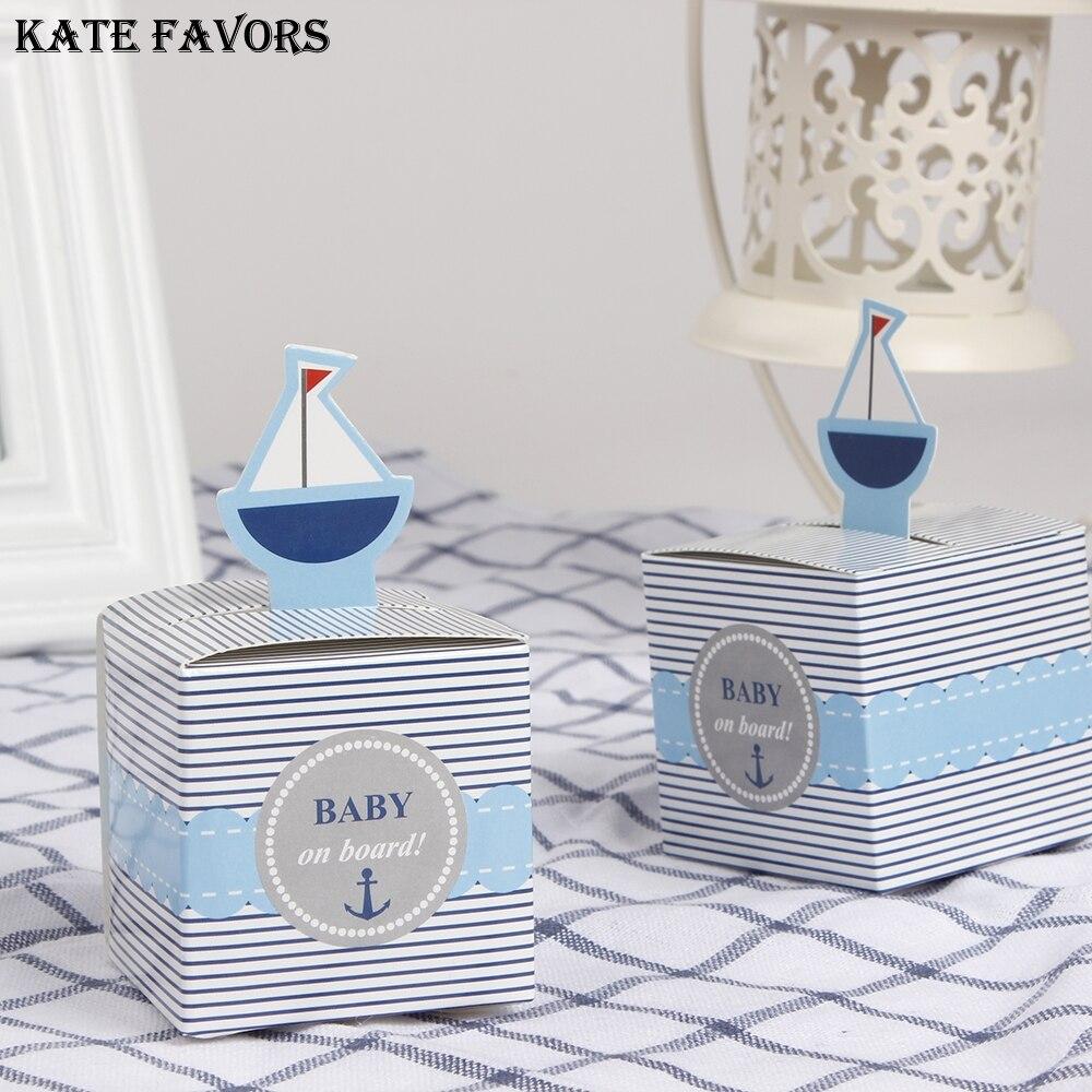 Всплывающая парусная лодка, 12 шт., «Baby On Board!», Детская коробка конфет, синие украшения для дня рождения, вечеринки, украшения для душа, Подаро...