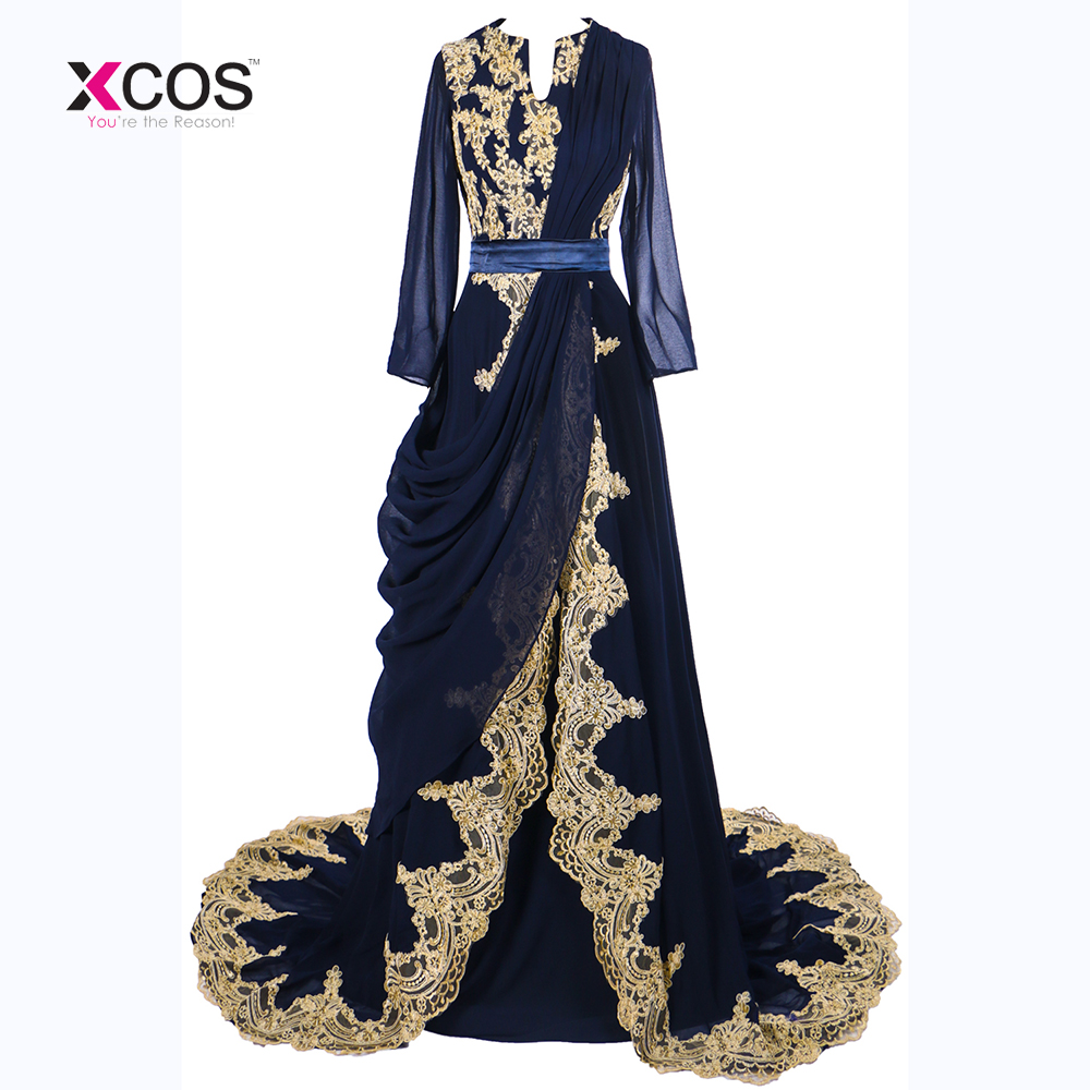 Elegant Navy Abaya Muslim Long Sleeves   Evening     Dress   2018 Dubai Moroccan Islamic Long Sleeve Arabic   Evening   Party Prom   Dress
