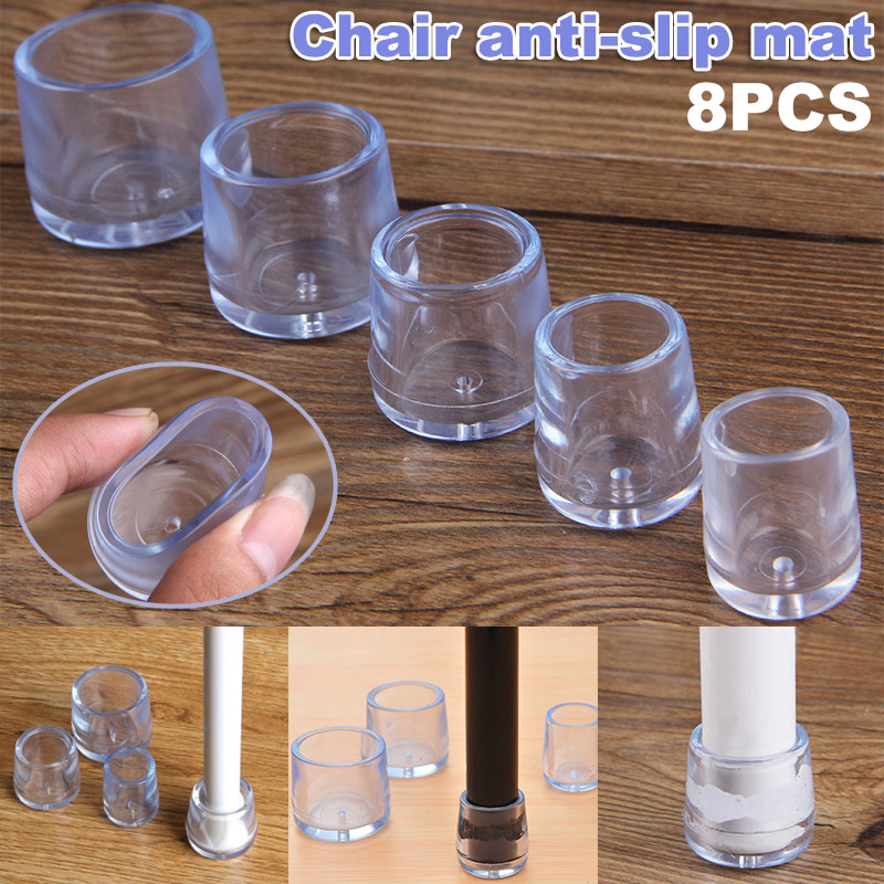 8 Pcs Chair Leg Caps Feet Protector Pads Soft Round Bottom Furniture Table Covers H99F