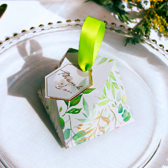 New Diamond Shape Green leaves Forest style Candy Box Wedding Favors And Gift Boxes Party Supplies thanks Gift Chocolate Package (8)