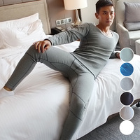 Fashion Cotton Long Johns Set Pajamas Men High Quality Warm Winter Long Sleeve Thermal Clothing Men