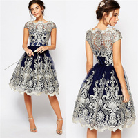 Gold Mesh Embroidery Lace Dress 2017 Fashion Summer Vintage Dress Women Sexy Elegant Casual Party Dress