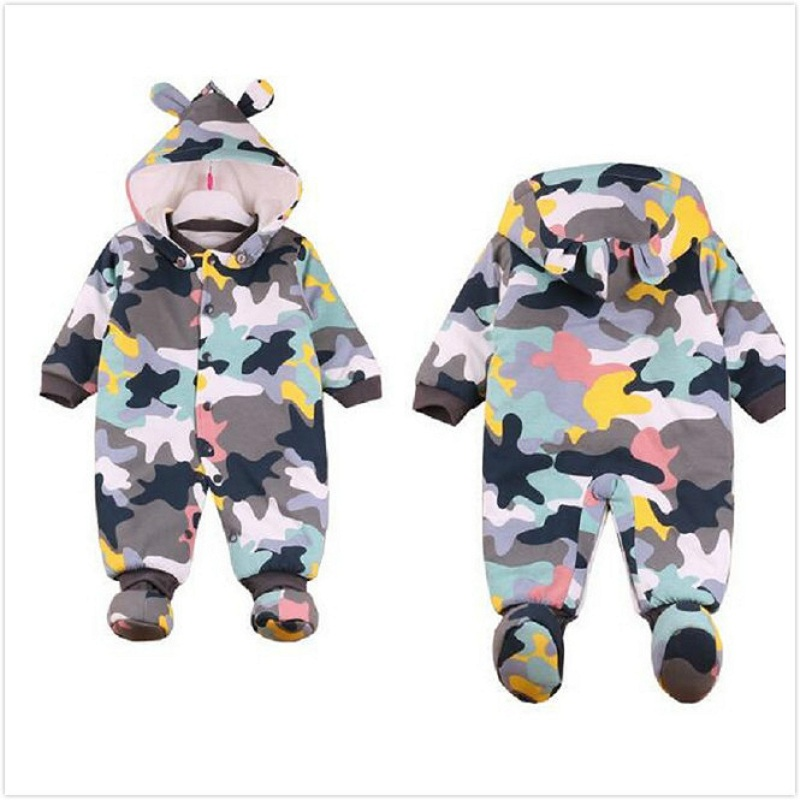 Baby Rompers Winter Thick Warm Baby boy Clothing Long Sleeve Hooded Jumpsuit Kids Newborn Outwear for 0-12M new baby rompers winter thick warm baby boy clothing long sleeve hooded jumpsuit kids newborn outwear for 0 12m