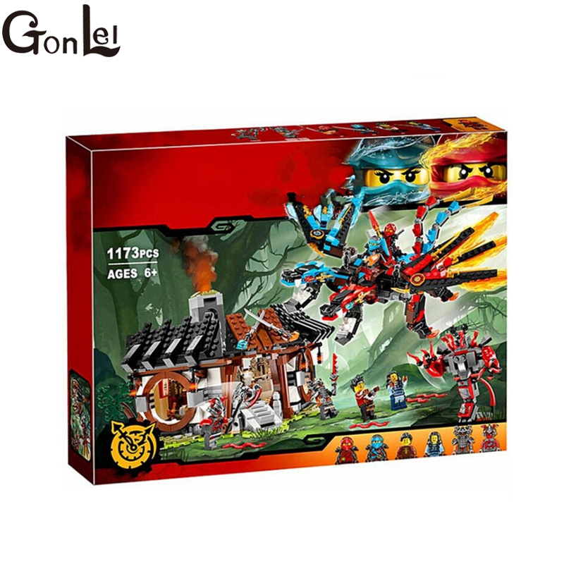(GonLeI) 1173pcs Ninja New 10584 Dragon's Forge DIY Model Building Kit Blocks Gifts Toys Compatible with gonlei 10374 new starwars battle droid troop carrier model building blocks kid toys gifts figure boys compatible with