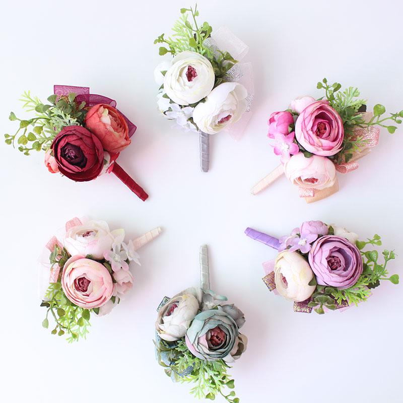 Wedding Corsages and Boutonnieres men groom artificial flowers  (9)