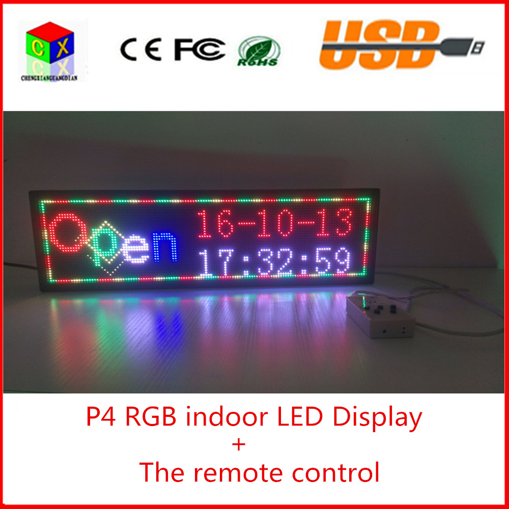The remote control indoor full color scrolling text display screen 6 by 21 P4 indoor RGB led sign