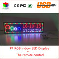 The remote control  indoor full-color scrolling text display screen 6 by 21 P4 indoor RGB led sign