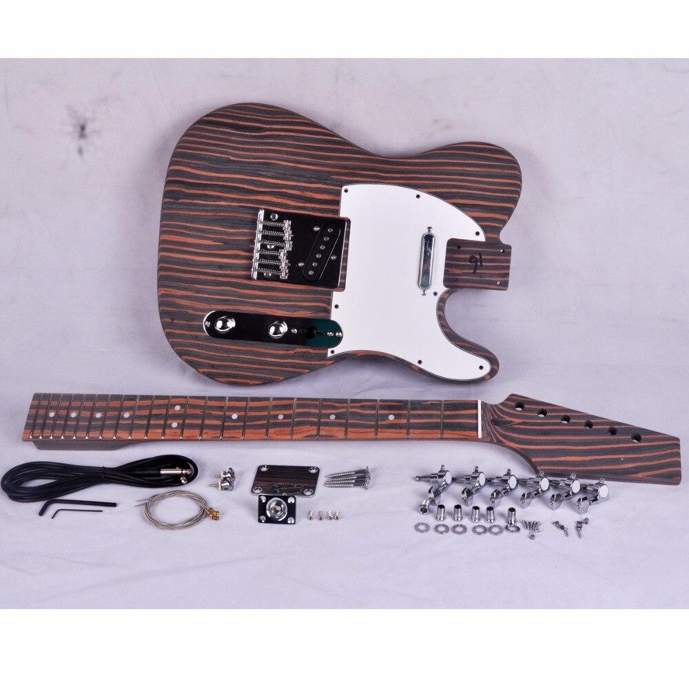 Kit guitare électrique bricolage Zebrawood corps et cou Style TL