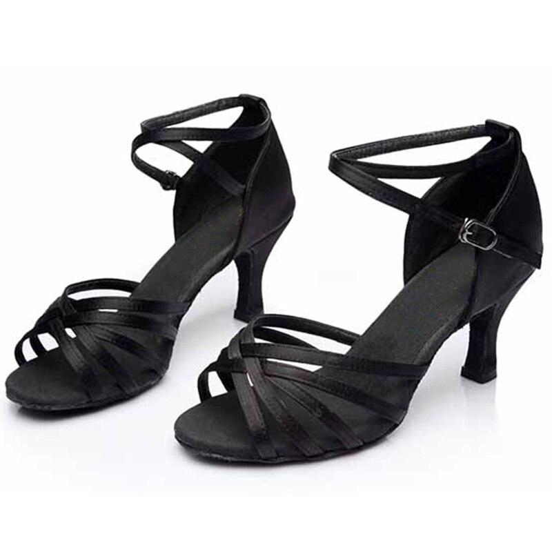 Female Adult Latin Dance Shoes Woman Sandals Leather Soft Bottom Square Dance Acrobatics Shoe Satin Summer Women Shoes Weaving