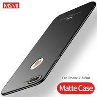 Msvii capa de luxo para iphone 7, capa fina, fosca, fosca, para iphone 8 plus, 8plus, pc, capa traseira dura para iphone 8 7 plus
