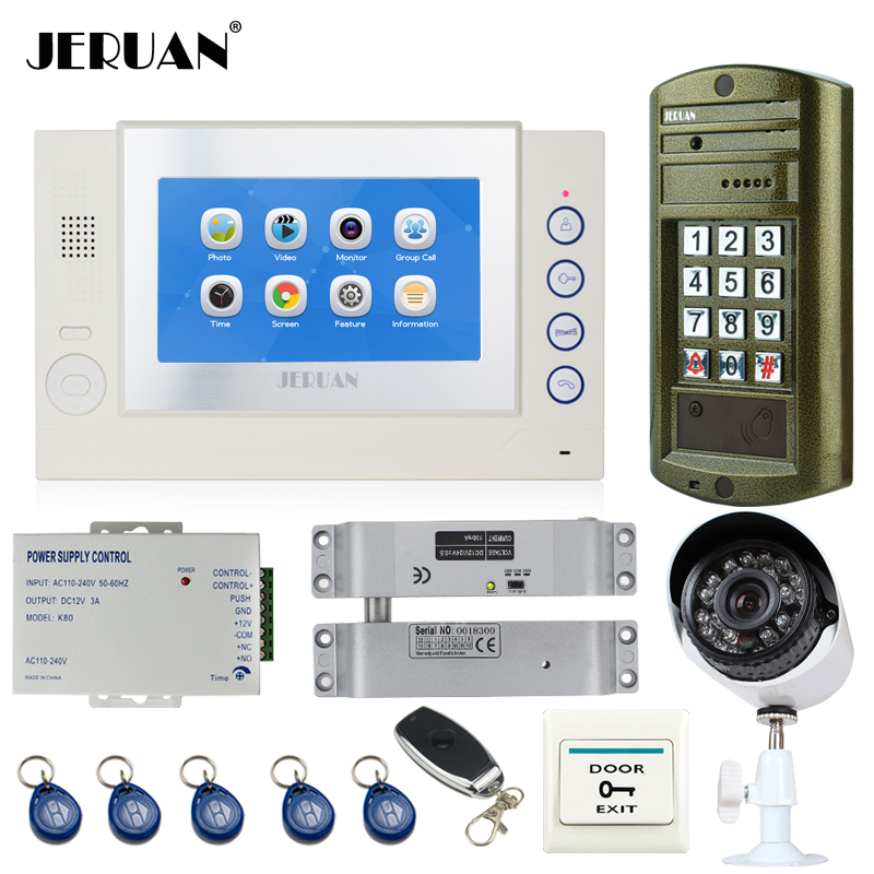 JERUAN 7`` TOUCH Screen Video Door Phone Record Intercom System kit+ Waterproof Access Password HD Mini Camera + Analog Camera