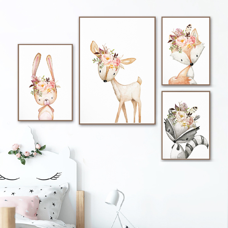New Product  Baby Girl Gift Nursery Decoration Woodland Animals Posters Print Watercolor Flowers Animal Canvas P