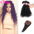 Cambodian Virgin Hair Deep Wave with Closure 3 Bundles with Closure Wet and Wavy Human Hair Top Quality Curly Weave Human Hair