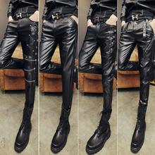 Winter personality fashion plus velvet motorcycle faux leather pants mens feet pants pu trousers for men warm Windproof black