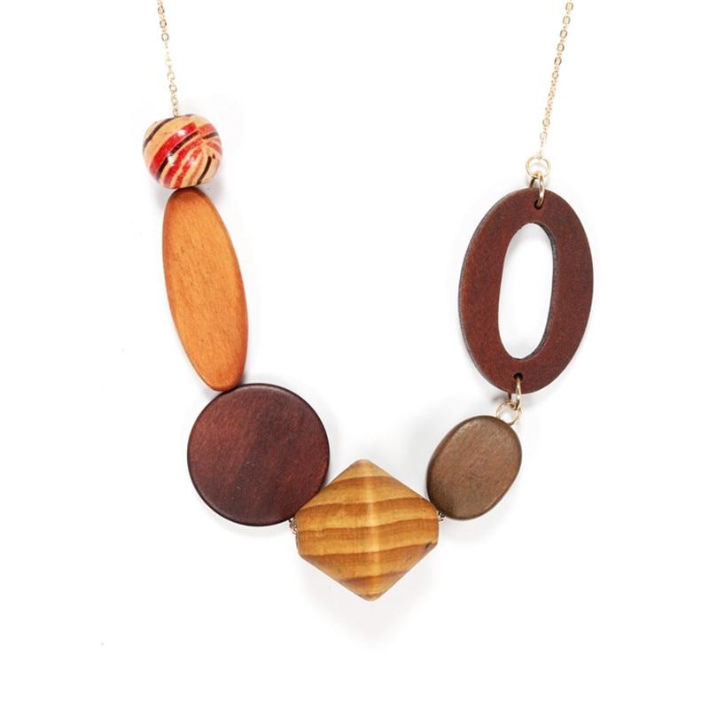 Fashion Hot Sales 2017 Elegant Geometric Vintage Long Wood Pendant Necklaces For Women Charm Jewelry Factory Wholesale