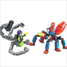 2016 Hot Toy   Assembled Granules Plastic Spiderman Boy puzzle Hero War Planet Fight inserted Model Gifts x77