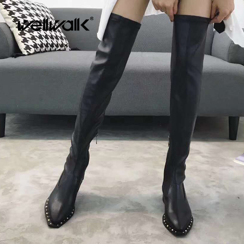 Winter Long Boots New Trend Knee High Boots Women Botines Mujer Pointed Toe Black Booties Over The Knee Western Gothic Shoes women shoes scarpe donna elastic boots botines mujer sapato feminino round toe chaussure femme schoenen vrouw over knee boots