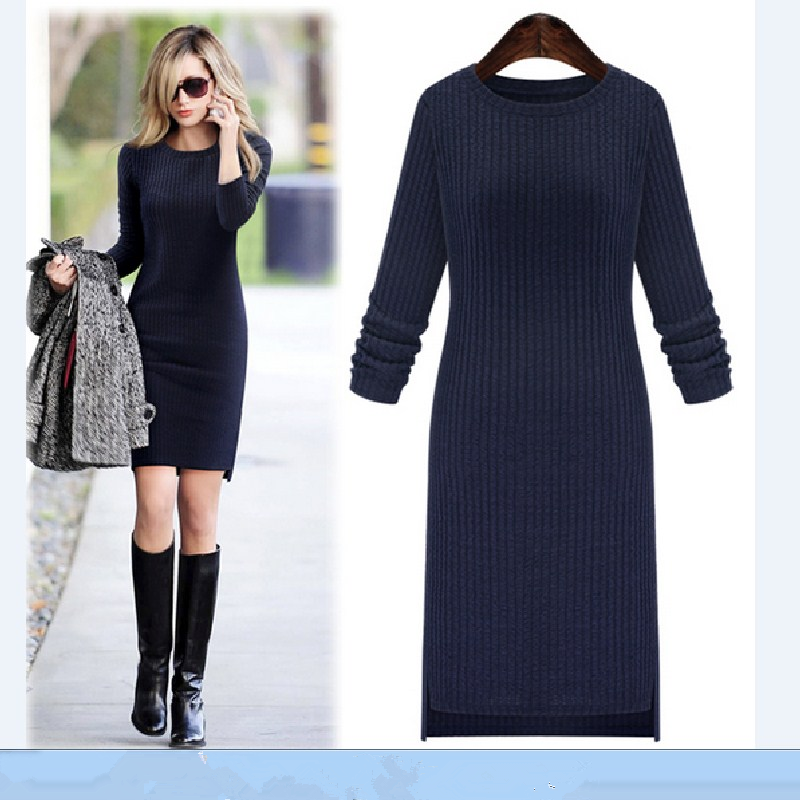 New Plus Size for Women Dress In Autumn and Winter 2016 European Fashion Style Sexy Lady Pure Color Long Sleeved Thick Dresses