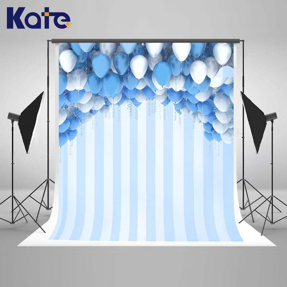 Kate Balloons Photography Backdrop Blue Children Birthday Backgrounds For Photo Studio Microfiber Photography Background Blue