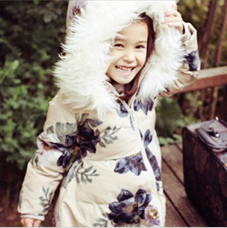 Mioigee 2017 jacket for girls winter girl down coat Fashion flower print high quality big virgin thick baby girl down coat kids